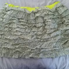 Ruffled Floral Skirt Like new. Cute ruffled Floral Skirt with neon yellow waistband from J.Crew J. Crew Skirts Mini