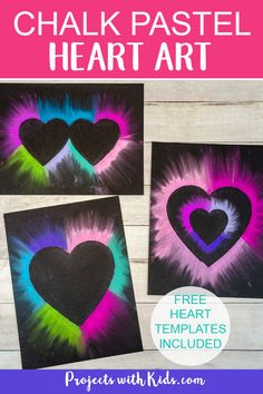 Colorful chalk pastel heart art for kids to make. Heart templates included making this Valentine's Day art project easy for kids of all ages! art for kids Easy Chalk Pastel Heart Art for Kids to Make Labor Day Crafts, Valentine's Day Crafts For Kids, Projects For Kids, Heart Projects, Art Project For Kids, Kids Arts And Crafts, Easy Art Projects, School Art Projects, Valentines Art For Kids