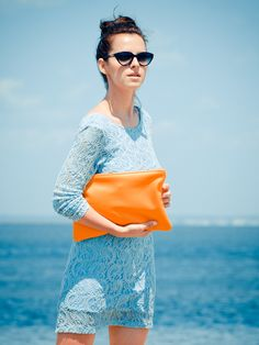 Bittersweet Colours blog featured the Medium Leather Pouch in Yang Yang orange