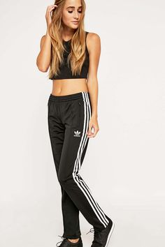 adidas Firebird Black Track Joggers - Urban Outfitters