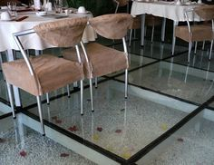 Decorations:Transparent Flooring In Your House Amazing Glass Floor Gravel Feature In Restaurant Interiorp Ideas With Brown Fabric Seat Cushions Plus Chrome Legs