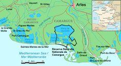 Camargue map - Camargue – Wikipedie