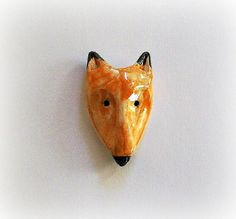 Adorable Earthenware Fox Brooch by StudioBytheForest