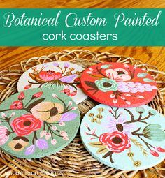 Botanical Custom Painted Cork Coasters {Rifle Paper Company Knockoff}