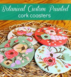 {DIY Botanical-Painted Modge Podge Coasters!}