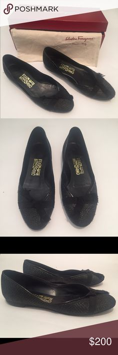 Salvatore Ferragamo Black Stampa Flats Size 7.5 Pre owned with original box and dust bag. Salvatore Ferragamo Shoes Flats & Loafers