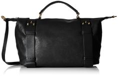 MG Collection Bowler Tote Bag, Black, One Size. A modern top handle leatherette handbag with detachable shoulder straps.