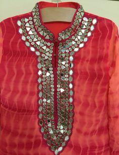 Long Georgette kurti,Beautiful mirrorNeckline kurti,a long tunic Saree Blouse Neck Designs, Kurta Neck Design, Dress Neck Designs, Blouse Designs, Kurti Embroidery Design, Embroidery Fashion, Hand Embroidery, Embroidery Dress, Mirror Work Kurti Design
