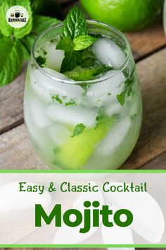This Classic and Original Mojito Recipe is super easy and has so much minty delicious flavor. The best home bartender's dream and your guests are sure to be impressed. Classic Cocktails, Summer Drinks, Fun Drinks, Alcoholic Drinks, Popular Cocktails, Mixed Drinks, Beverages, Cocktail Drinks, Drink Recipes
