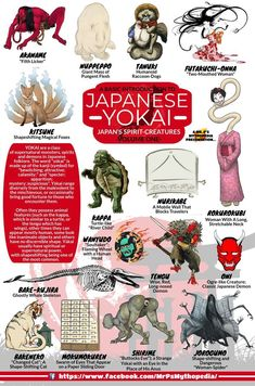 An introduction to the spirit-creatures of Japanese mythology, the YOKAI. - An introduction to the spirit-creatures of Japanese mythology, the YOKAI. Magical Creatures, Fantasy Creatures, Japanese Mythical Creatures, Beltaine, Folklore Japonais, Japanese Yokai, World Mythology, Greek Mythology, Myths & Monsters