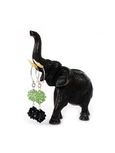 on SALE 60% - Handwoven Swarovski Crystal Earrings, Bead-woven Swarovski Crystal Earrings, Sterling Silver Ear Wires, Black & Green Earrings - pinned by pin4etsy.com