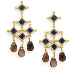 Stephanie Kantis London Blue Crystal & Smoky Topaz Briolette Venetian... (€125) ❤ liked on Polyvore featuring jewelry, earrings, blue chandelier earrings, blue crystal jewelry, blue crystal earrings, earring jewelry and smoky topaz earrings