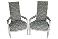 Hollywood Regency ZigZag Armchairs pair FREE by OrangeNolive, $1495.00