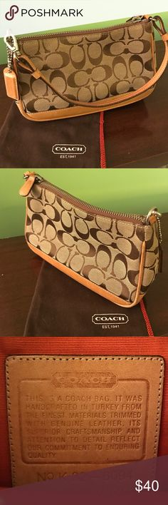 """Authentic Coach signature minibag Brown signature Coach pattern with light leather trim details. 12"""" strap detaches to convert bag into wristlet. Gentle wear on bottom leather (as pictured). Coach Bags Mini Bags"""