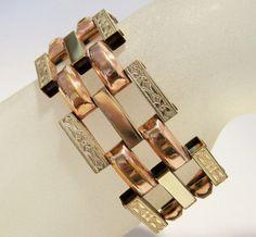 Art Deco Style P Craft Rose Yellow Gold Filled Bracelet Etched Link Design 416DZ