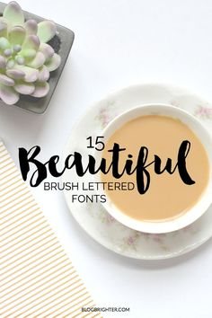 15 Beautiful Brush Lettered Fonts - Gorgeous handmade fonts to transform your… Calligraphy Fonts, Typography Letters, Typography Design, Web Design, Blog Design, Creative Design, Brush Font, Brush Lettering, Typographie Fonts