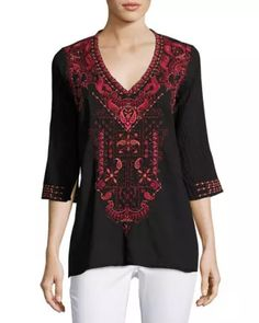 Eros Embroidered Blouse, Black Pattern