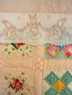 Oh, BABY! Vintage bunny Hand embroidered linens Quilt re-purpose *  DIY inspiration * Great use for vintage linens * Vintage inspired nursery decor!