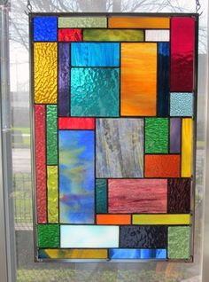 Aspen Solace Stained Glass Window Panel Geometric Abstract EBSQ Artist
