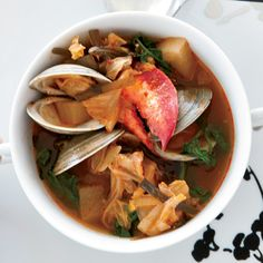 Lobster, Clam and Kimchi Stew // Fabulous Korean Recipes: http://www.foodandwine.com/slideshows/korean #foodandwine