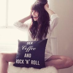 Sex Coffee and Rock 'n' Roll decor pillow by Miss With-it! Click image to shop! www.shopmisswithit.com
