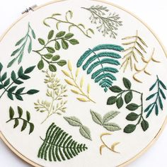 Freestyle Embroidery, Hoop Art, Embroidered Leaves, Embroidered Plants