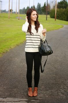 Casual Cute Fall Outfit with cognac booties