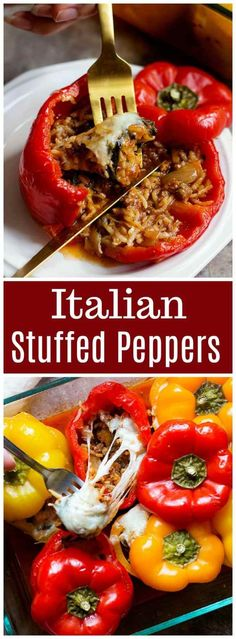 Italian Stuffed Peppers Stuffed Peppers Recipe Stuffed Peppers Recipe Stuffed Peppers Spinach Stuffed Peppers Italian Stuffed Peppers With Rice Italian Stuffed Peppers Healthy Via Unicornskitchen Italian Stuffed Peppers, Stuffed Peppers With Rice, Stuffed Peppers Healthy, Quick Dinner Recipes, Lunch Recipes, Healthy Recipes, Fall Recipes, Delicious Recipes, Healthy Food
