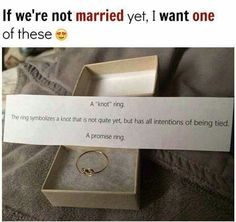 Not even that big of a fan of the concept of promise rings but thats cute