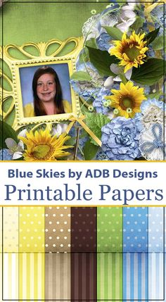 Blue Skies by ADB Designs is a bright summer scrapbook collection.  A little bit vintage in yellow and blues makes for a gorgeous page or family photo book.