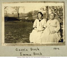 Carrie and Emma Buck at the Virginia Colony for Epileptics and Feebleminded, taken by A. Estabrook the day before the Buck v. Bell trial in Virginia History Of Down Syndrome, Oliver Wendell Holmes Jr, Mental Asylum, Medical History, Epilepsy, Interesting History, Supreme Court, World History