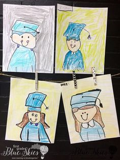 graduation drawing Graduation Directed Drawing and FREE Book Covers - First Grade Blue Skies Graduation Drawing, Graduation Crafts, Pre K Graduation, Kindergarten Graduation, Graduation Ideas, Graduation Theme, Kindergarten Drawing, Kindergarten Art Projects, Teaching Kindergarten