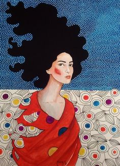 Hülya Özdemir - a lonely spirit that sometimes collide Watercolor Illustration, Watercolor Art, Painting Inspiration, Art Inspo, Instalation Art, Illustrations, Portrait Art, Portraits, Collage Art