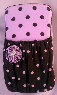 Pink and Brown Polka Dot Decorated Diaper Wipe Case. - pinned by pin4etsy.com