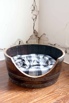 "Wine Barrel Pet Bed / Cat Bed / Dog Bed ""TORPOR"" made from reclaimed Napa wine barrels - Recycled! Whiskey Barrel Furniture, Whiskey Barrel Table, Large Pet Beds, Bourbon And Boots, Barrel Projects, California Wine, Rustic Elegance, Pet Accessories, Wine Barrels"