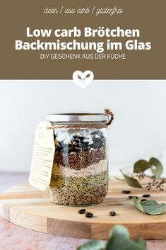 Low carb Brötchen Backmischung im Glas | DIY Upcycling | Koch mit Herz Low Carb Meal, Low Carb High Fat, Diy Upcycling, Food Styling, Food Photography, Spices, Glutenfree