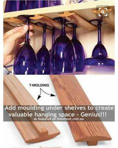 DIY wine glass holders for your homemade bar or cupboard area. Diy Wine Glass, Home Projects, Diy Furniture, Bar Cart Decor, Wine Glass Rack, Wine Glass Holder, Diy Wine, Glass Holders, Homemade Bar
