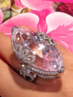 Beautiful, 72 carat, marquise kunzite ring set in platinum with diamonds.