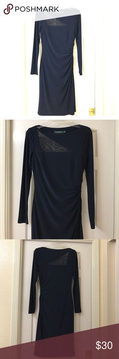 Beautiful Navy Blue Dress Ralph Lauren long sleeved dress with sheer triangular section in front and back. I wore this dress once. Very beautiful and classy dress. 💁 Ralph Lauren Dresses