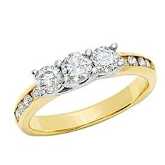 1Ct Natural Diamond Three Stone Ring In 10K Gold # Free Stud Earrings by JewelryHub on Opensky