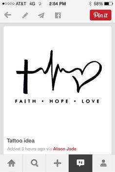 This is a neat tattoo idea Paar Illustration, Faith Hope Love Tattoo, Love Tattoos, Spirituality, Brick, Crafts, Ideas, Tattoos, Tatoo