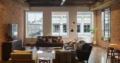 industrial loft apartment in New York_living room