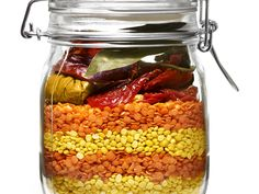 Sealed & Delivered: Recipes in a Jar : Food Network (Curried Lentil Soup, Blue Cornbread with Pineapple, Super-Chunky Christmas Cookies, Holiday Panetonne, Spiced Hot Cocoa) Mason Jar Meals, Mason Jar Gifts, Meals In A Jar, Gift Jars, Mason Jars, Curried Lentil Soup, Lentil Curry, Curry Soup, Lentil Stew