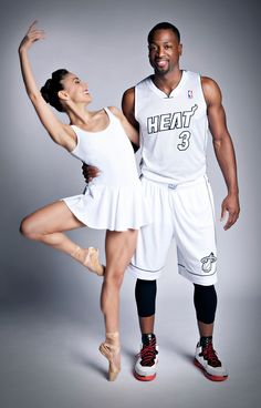 Miami City Ballet's Patricia Delgado and the Miami Heat's Dwyane Wade