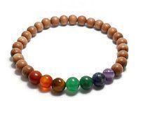 chakra bracelet, 7 Chakra bracelet, metaphysical bracelet, rosewood beads, natural materials, semi-precious gemstone beads, yoga bracelet