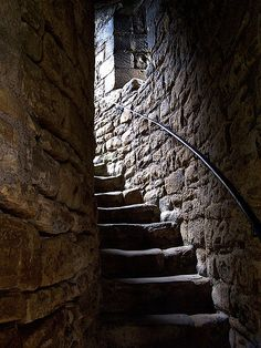 Barnard Castle stairwell -- musty and drafty Gothic Castle, Dark Castle, Medieval Castle, Sacred Architecture, Barnard Castle, Chateau Medieval, Stone Stairs, Stone Walls, Castle Ruins