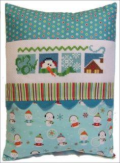 January Rick Rack Row Pillow - Cross Stitch Kit by Pine Mountain Designs