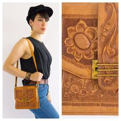 60's Mexican Tooled Leather Shoulder Bag!!