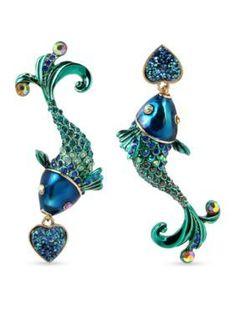 Betsey Johnson Multi Gold-Tone Fish Mismatch Drop Earrings