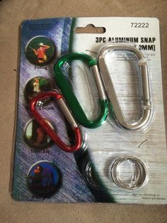 ALUMINUM SNAP  CLIPS 3 SIZES 3 PACK   W/RINGS    NEW IN PACKAGE #ALUMINUM